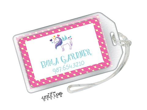 Unicorn Acrylic Luggage Tag