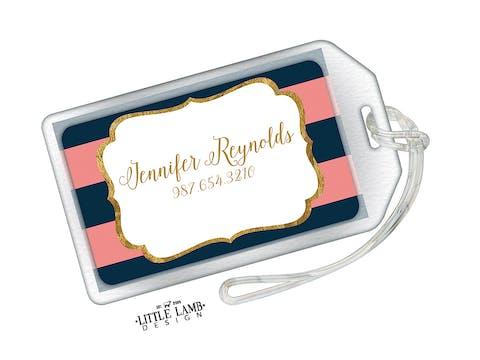 Navy & Pink Glitter Frame Acrylic Luggage Tag