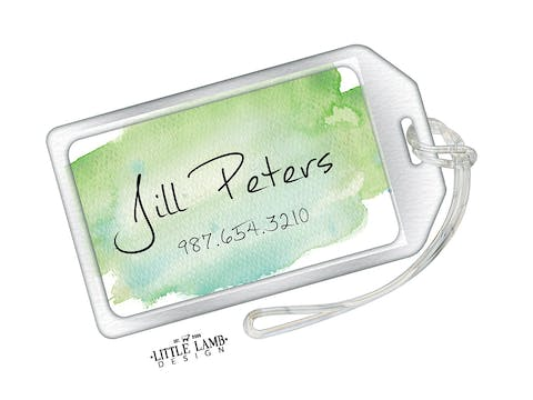 Green Watercolor Acrylic Luggage Tag