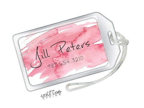 Pink Watercolor Acrylic Luggage Tag