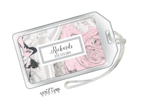 Pink And Gray Marbled Acrylic Luggage Tag