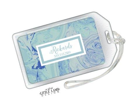 Shades Of Blue Marbled Acrylic Luggage Tag