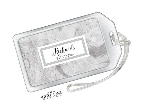 Gray Marbled Acrylic Luggage Tag