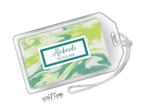 Shades Of Green Marbled Acrylic Luggage Tag