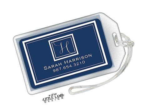 Navy Acrylic Luggage Tag