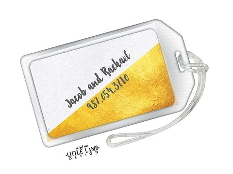 Speckled And Golden Acrylic Luggage Tag