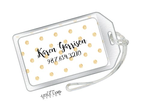 Gold Sparkly Polka Dot Acrylic Luggage Tag