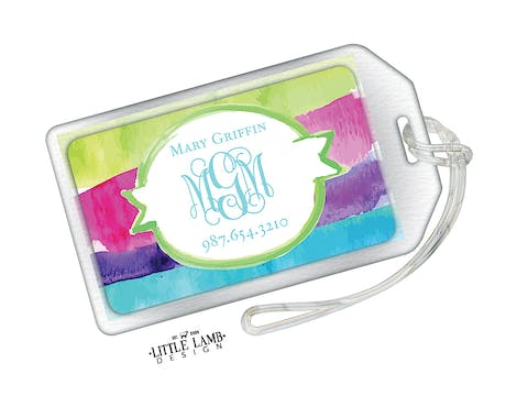 Watercolor Stripes Acrylic Luggage Tag