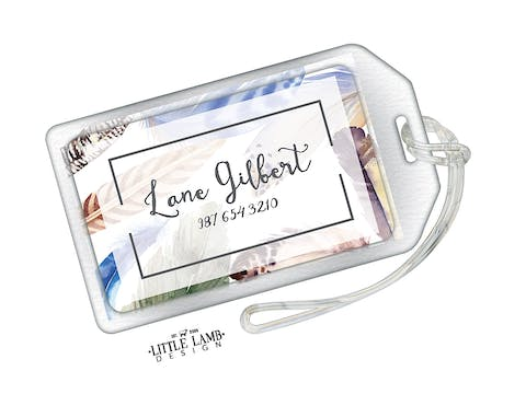 Watercolor Feather Acrylic Luggage Tag
