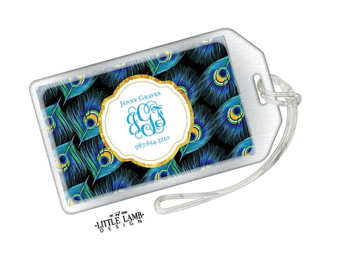 Peacock Feathers Acrylic Luggage Tag