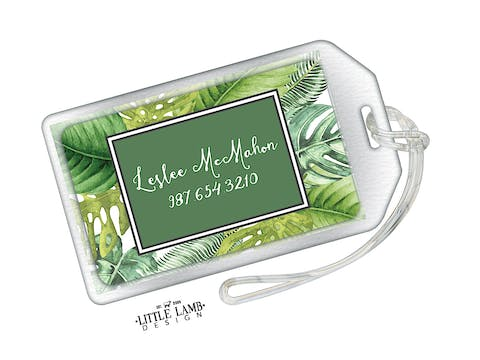 Palm Leaves Acrylic Luggage Tag