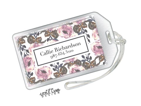 Floral Acrylic Luggage Tag