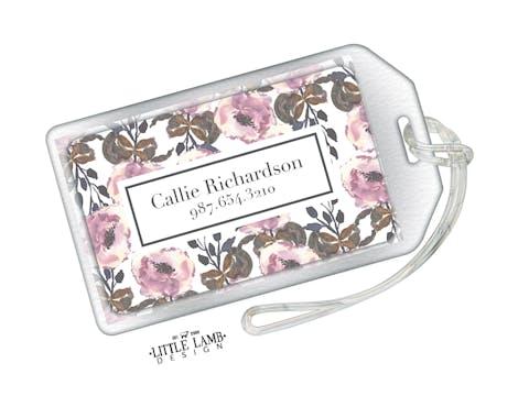 Floral Acrylic Luggage Tag