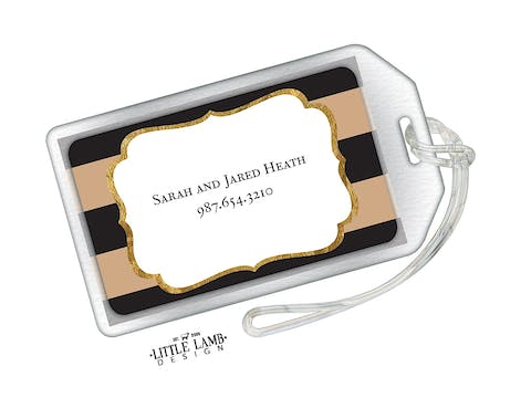 Black & Taupe Glitter Frame Acrylic Luggage Tag