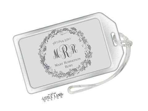 Gray Acrylic Luggage Tag With Dark Gray Wreath