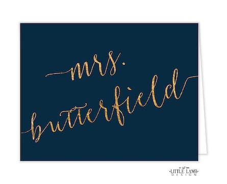 Glittery Name Navy Folded Note