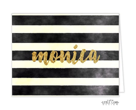 Watercolor Stripes Folded Note With Glittery Name
