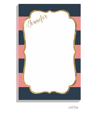 Navy & Pink Glitter Frame Notepad