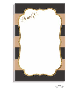 Black & Taupe Glitter Frame Notepad