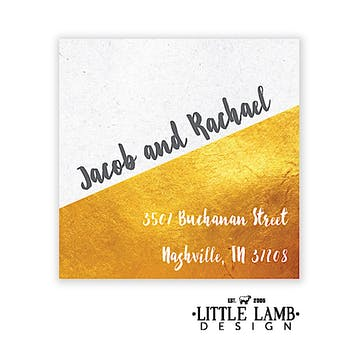 Speckled And Golden Square Return Address Label