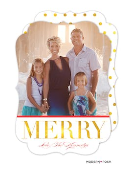 Classic Golden Merry Holiday Photo Card