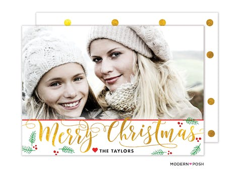 Classic Christmas Doodles Holiday Photo Card