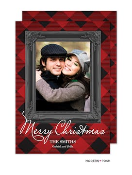Classic Christmas Plaid Holiday Photo Card