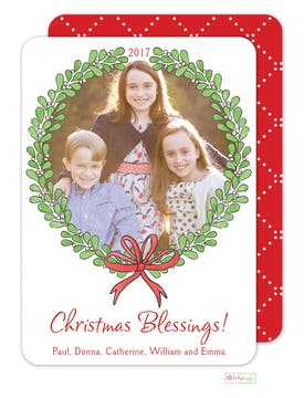 Mistletoe Wreath Holiday Photo Card