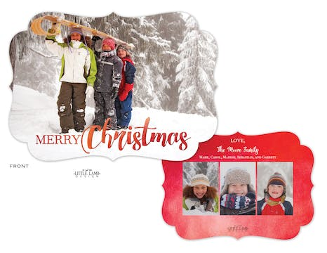 Red Watercolor Christmas Flat Holiday Photo Card