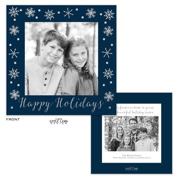 Navy Snowflake Flat Square Holiday Photo Card