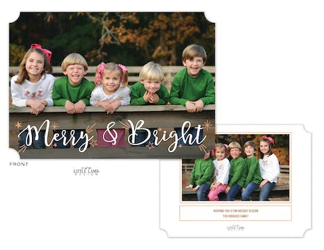 Rose Gold Merry and Bright Flat Holiday Photo Card