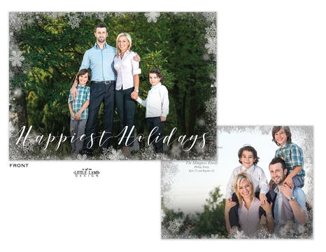 Soft Snowflakes Flat Holiday Photo Card