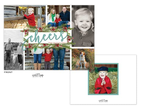 Cheers Pine And Berries Flat Holiday Photo Card