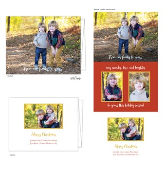 Vertical Trifold Folded Holiday Photo Card