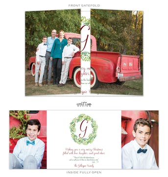 Split Gatefold Folded Holiday Photo Card