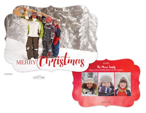 Watercolor Christmas Foil Pressed Holiday Photo Card