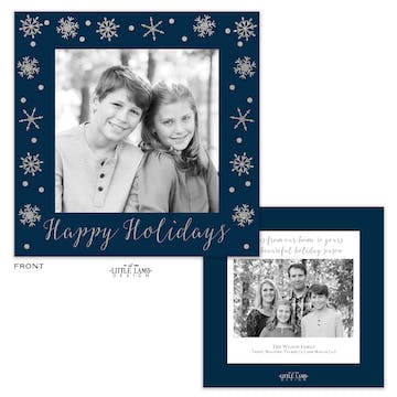 Navy Snowflake Foil Pressed Square Holiday Photo Card