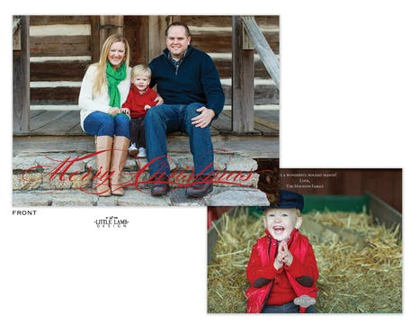 Foil Pressed Fancy Merry Christmas Holiday Photo Card