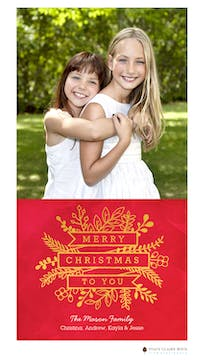 Sending Merriment Foil Pressed Holiday Photo Card