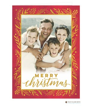 Season To Shine Foil Pressed Folded Holiday Photo Card
