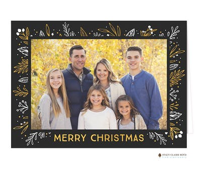 Glistening Frame Foil Pressed Folded Holiday Photo Card