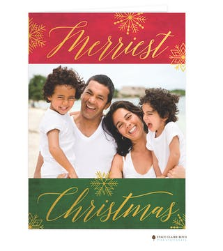 Shine On Foil Pressed Folded Holiday Photo Card