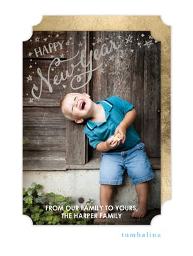New Year Stars Foil Pressed Holiday Photo Card