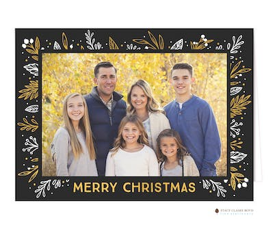 Glistening Frame Foil Pressed Folded Holiday Print & Apply Photo Card