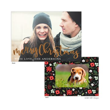 Joyous Christmas Script Foil Pressed Holiday Photo Card