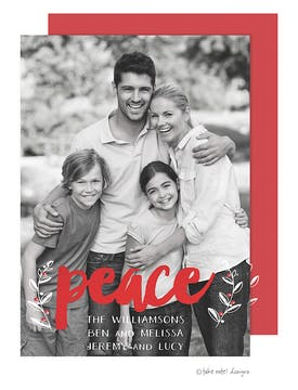 Peace Vines Foil Pressed Holiday Photo Card