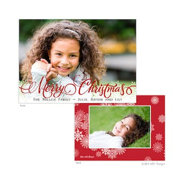 Christmas Fancy Script Snowflakes Foil Pressed Holiday Photo Card