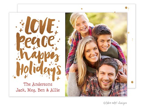 Love Peace Happy Holidays Scatter Foil Pressed Holiday Photo Card