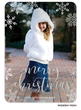 Modern Christmas Snowfall Foil Pressed Holiday Photo Card
