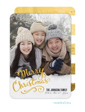 Flourished Christmas Calligraphy Foil Pressed Holiday Photo Card